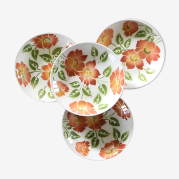 Set de 4 assiettes creuses Moulin des Loups, motif Ontario, vintage français, authentique, rare, cam