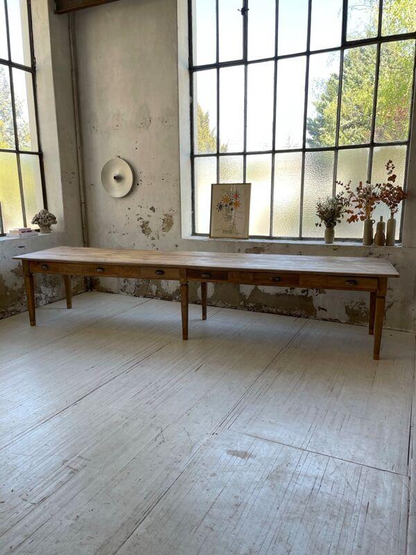 Table de ferme pin et hêtre XXL 370cm