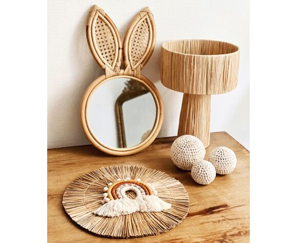 Miroir enfants rotin et cannage lapin vintage bohème