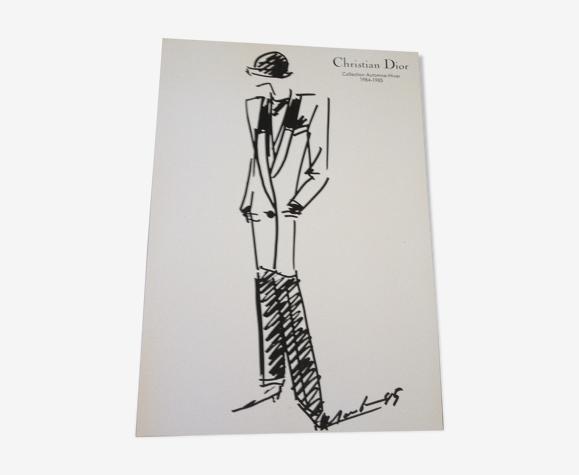 Christian Dior : illustration de mode de presse collection automne - hiver 1984 - 1985