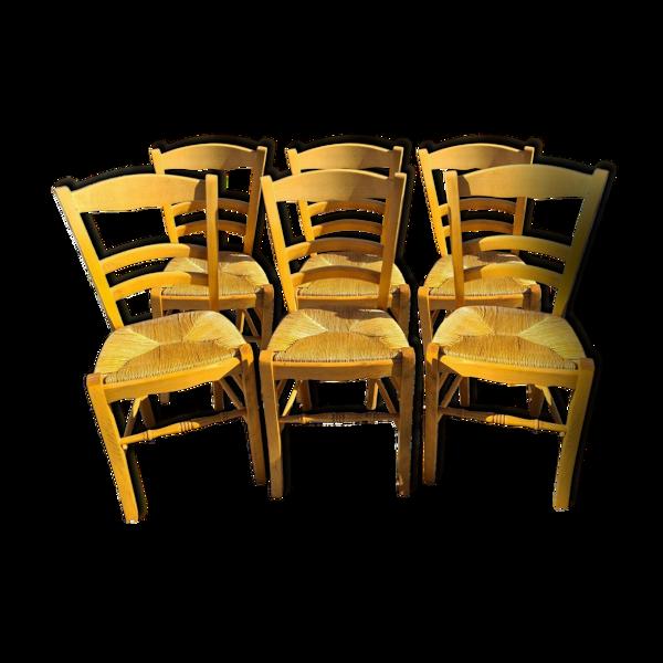 Selency 6 chaises paillées en hêtre