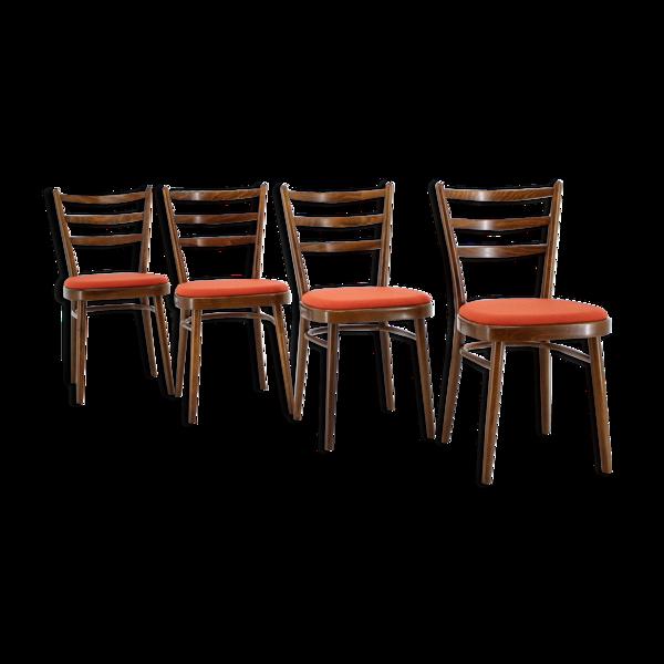 Ensemble de quatre chaises à manger Tchécoslovaquie 1965