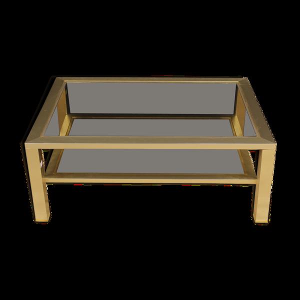 Table basse design française en métal et verre