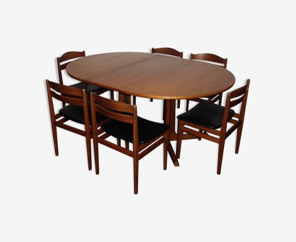 Ensemble table à manger et 6 chaises Danoises en teck des années 1960