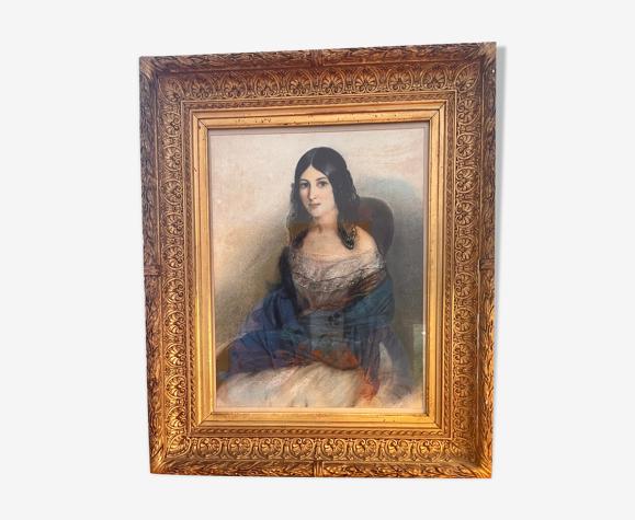Tableau jeune femme au chalet bleu