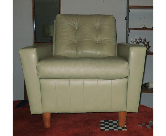 Fauteuil en cuir couleur pistache du milieu du siècle des années 1940-1950