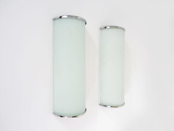 Paire d'appliques murales Ikea Jod en verre givré et chrome. Vintage. Année 90