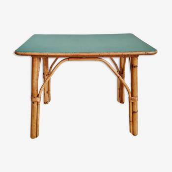 Old bamboo coffee table green top
