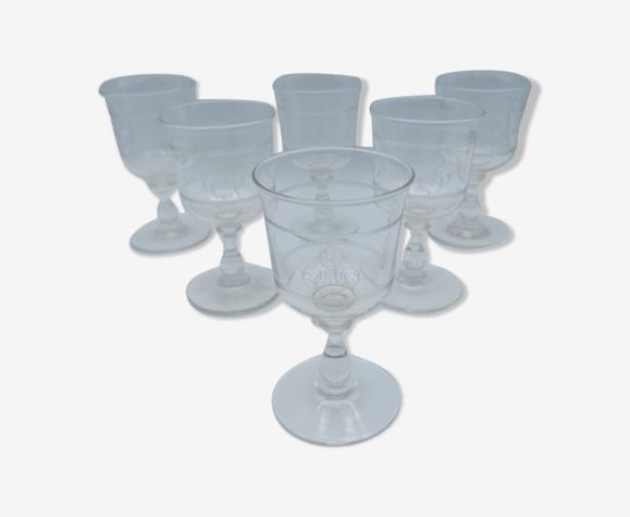 Ensemble de 6 verres en cristal monogrammés