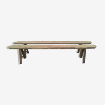 Old pair of solid chene bench