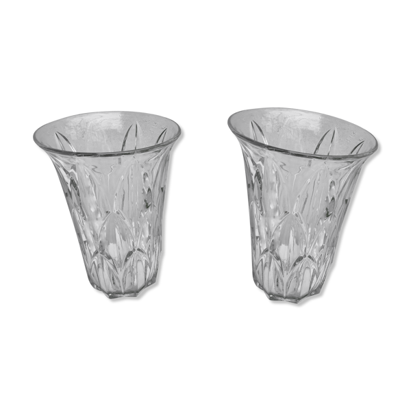 Paire de vases ancien style art déco en verre moulé décoration vintage