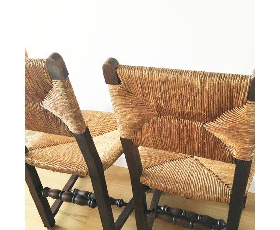 Paire de chaises en bois et paille anciennes
