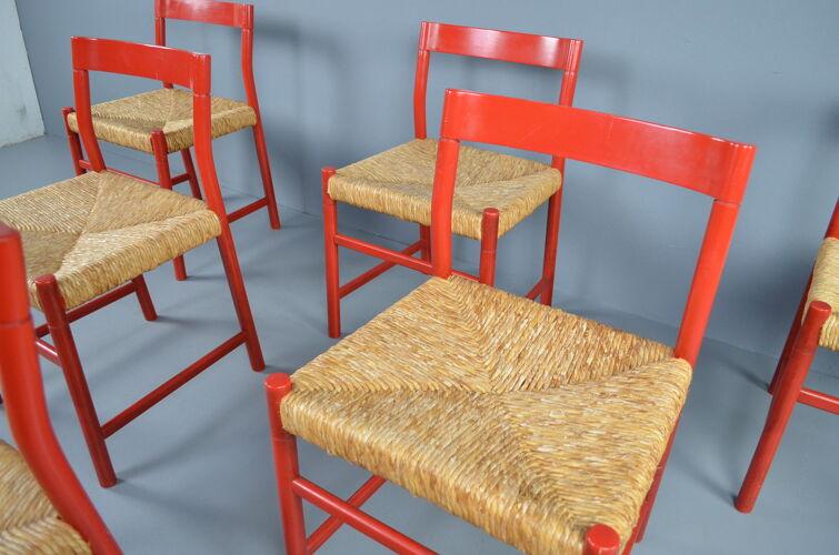 Chaises à manger en chêne et en osier de conception du milieu du siècle