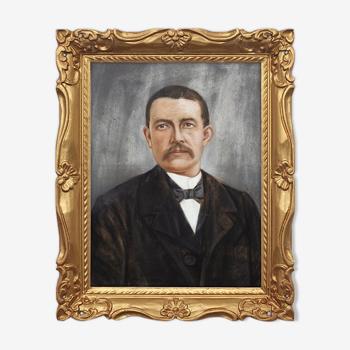 Portrait homme 1930 dans cadre or - tirage d'art