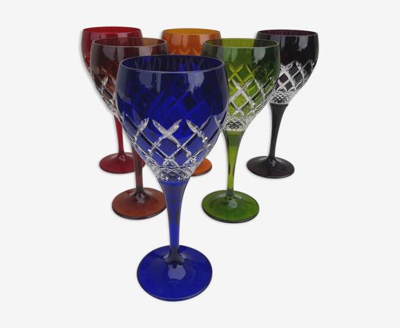 6 verres colorés en cristal