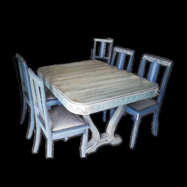 Table et 6 chaises patinées