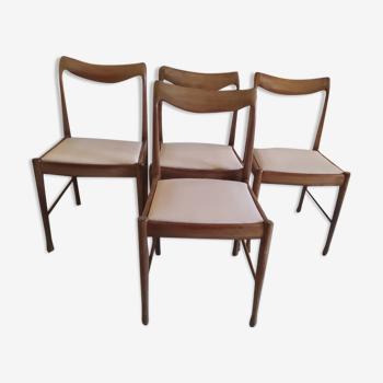4 chaises en teck scandinave blanc beige