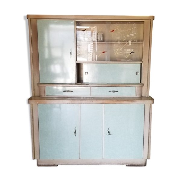 Buffet de cuisine vintage 2 corps années 1960 esprit Mado