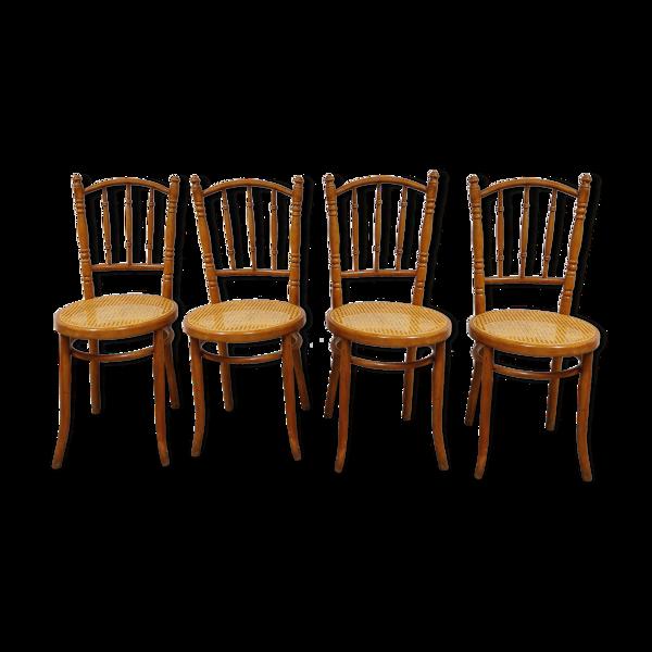 Ensemble de 4 chaises bistro vintage, années 1950