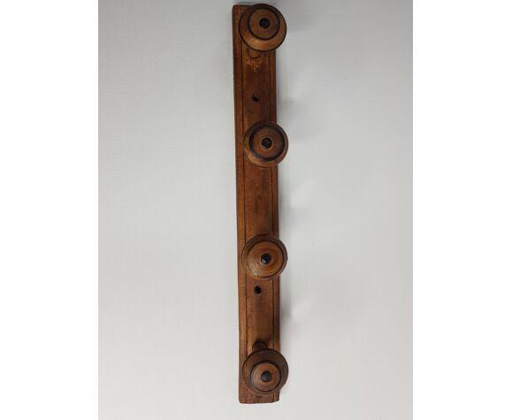 Porte-manteau rustique à fixer au mur 4 patères, 52 cm