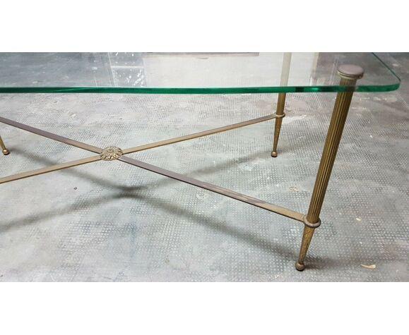 Table basse des années 60 en verre et en laiton