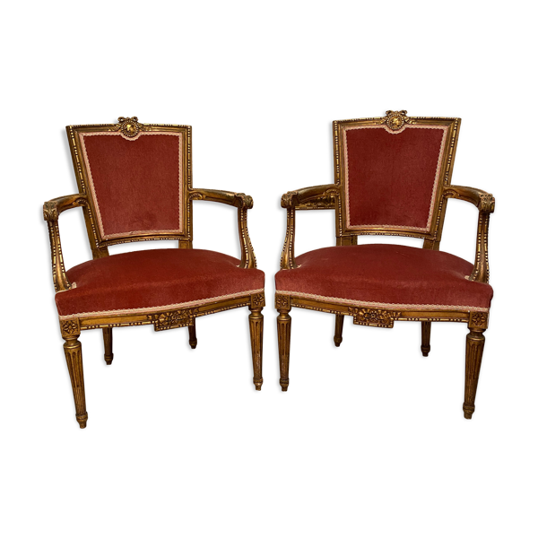 Paire de fauteuils style Louis XVl époque Napoléon lll