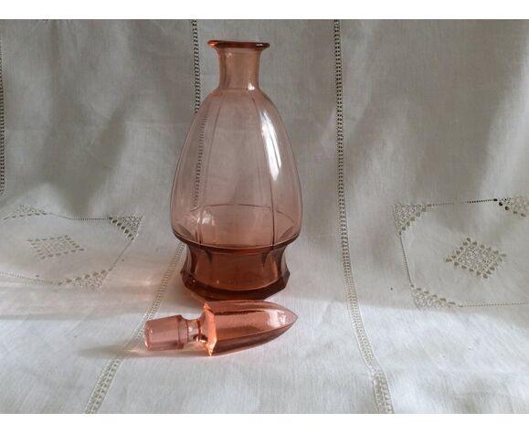 Carafe en verre rose art deco années 1960