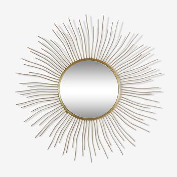 Sun mirror free form vintage gold metal, years 60