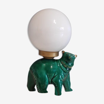 Lampe ours en céramique verte et globe opaline blanc