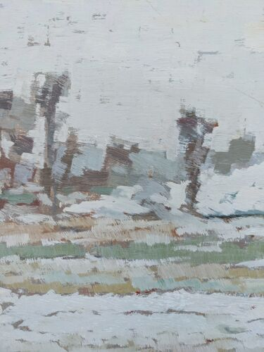 Peinture à l'huile encadrée vintage du milieu du siècle - frost