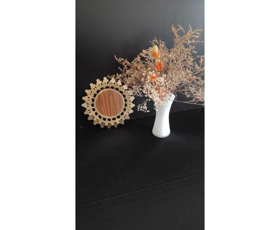Miroir rond en métal doré
