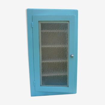 Armoire toilette en bois bleue vitre opaque