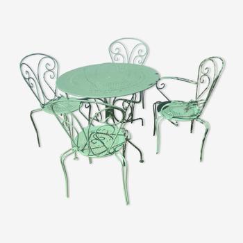 Salon de jardin fer forgé vert provence