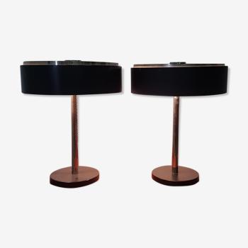 Ensemble de deux lampes de bureau de style bauhaus par Hillebrand, Allemagne années 1950
