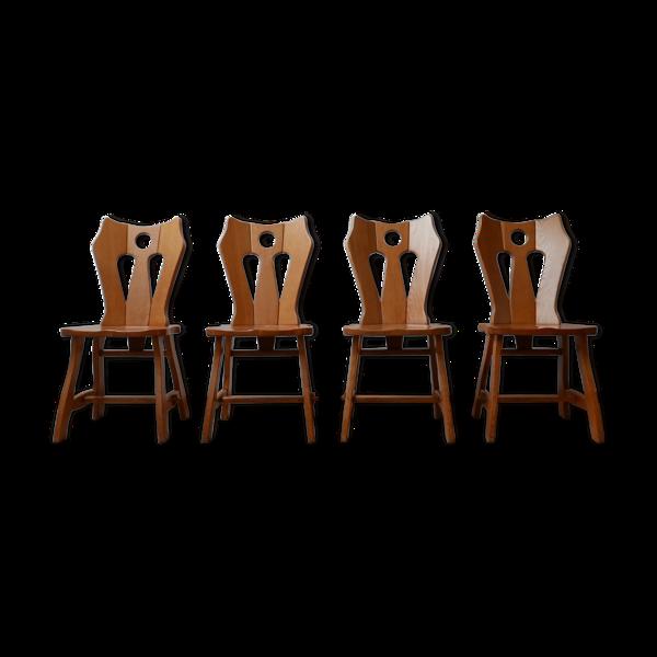 Selency Ensemble de chaises à manger en chêne blond brutaliste