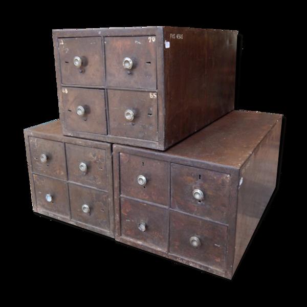 Ancien meuble industriel 4 petits casiers Inde