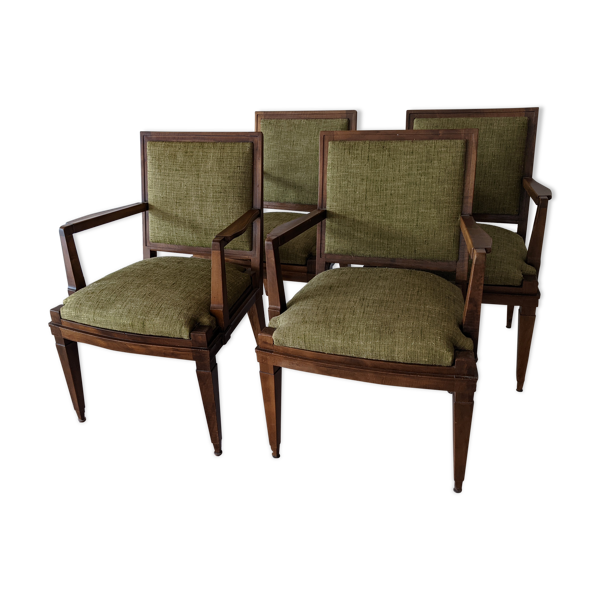 4 fauteuils bridges années 40 en noyer