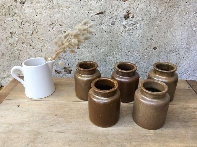 Set of 5 sandstone mustard pots