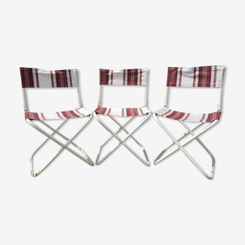 Série de 3 chaises pliantes métal blanc avec  tissu bordeaux camping jardin vintage