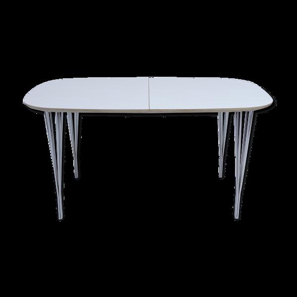 Table à manger elliptique à rallonge danoise par Haslev No 04, blanc