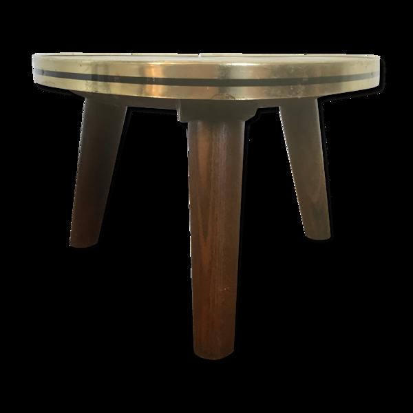 Guéridon triangulaire petite table basse effet marbre vintage tripode porte plante midcentury 1950