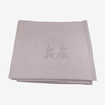 12 serviettes en coton damassé monogrammées AL - Vers 1900