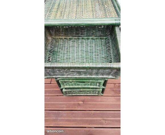Meuble de rangement en rotin vert vintage
