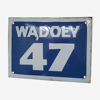 Plaque émaillée Pologne nombre 47