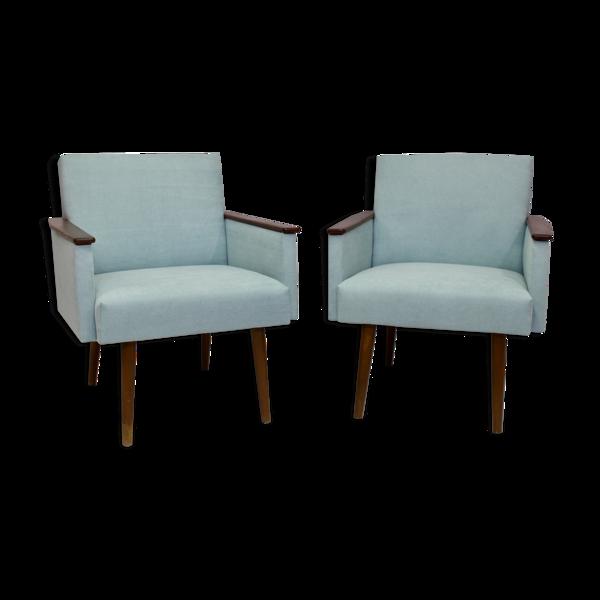 Paire de fauteuils cube tissu bleu claire année 1960 entièrement restaurée