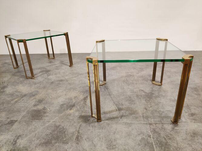 Paire de tables d'appoint en laiton Peter Ghyczy T24 Pioneer