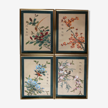 Anciennes peintures sur soie Chine  lot de quatre oiseaux milieu XXème
