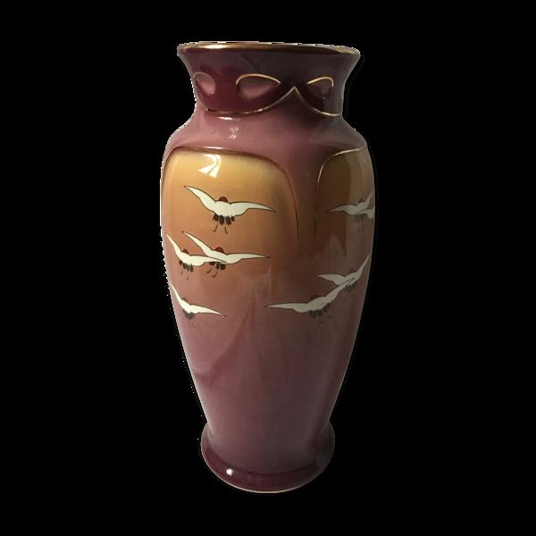 Vase en faïence fives lille De Bruyn décor oiseaux