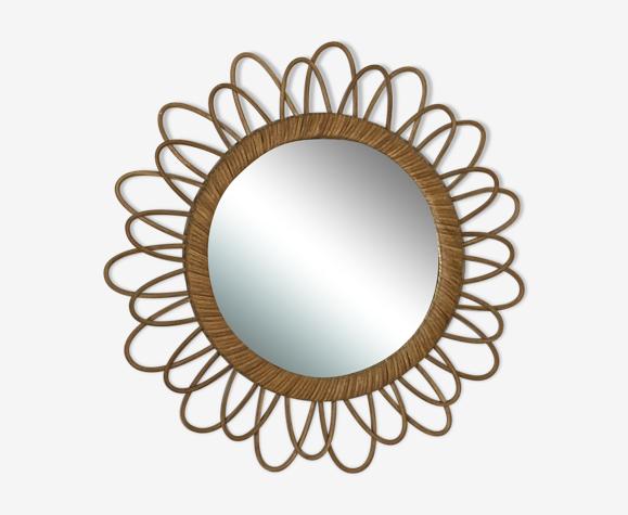 Miroir soleil en rotin arqué 52cm 1960