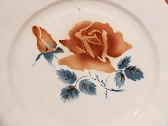 3 assiettes plates Digoin Sarreguemines rose poudré décor 9181